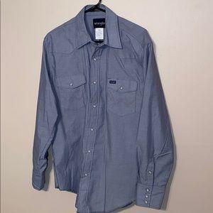 Men's Wrangler Denim Western Shirt Sz 16 1/2 x 35